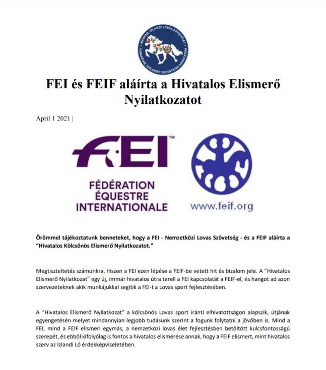 FEI és FEIF aláírta a Hivatalos Elismerő Nyilatkozatot
